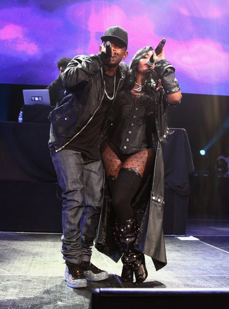 Lil' Kim and Kendrick Lamar perform onstage