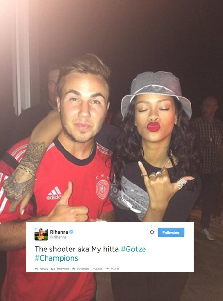 Rihanna with Super Maro at the world cup final