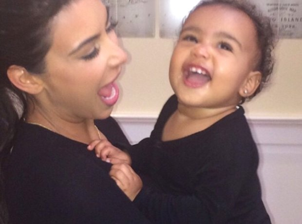 Kim Kardashian and North West laughing