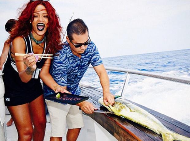 Rihanna eating fish