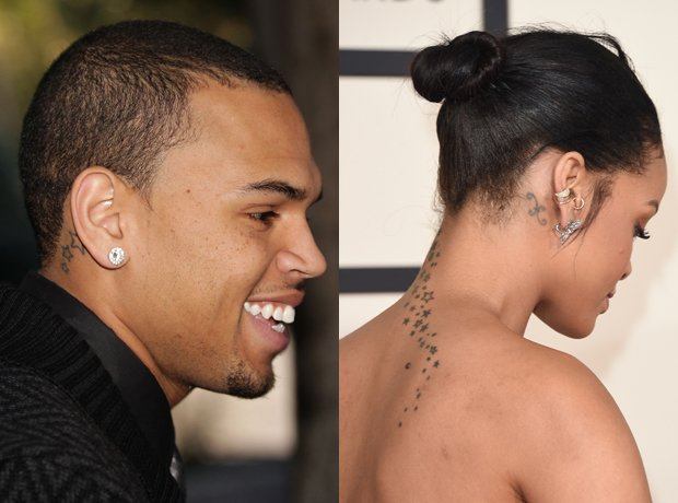 Chris Brown and Rihanna matching tattoos