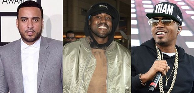 French Montana next to Kanye West and Nas