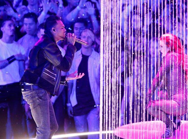 Chris Brown performing on stage