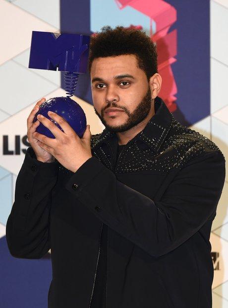 The Weeknd holding MTV EMA Award