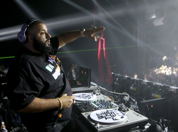 DJ Khaled on the decks at a Super Bowl party.