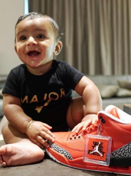 Asahd Khaled with his dad's 'Grateful' Air Jordans